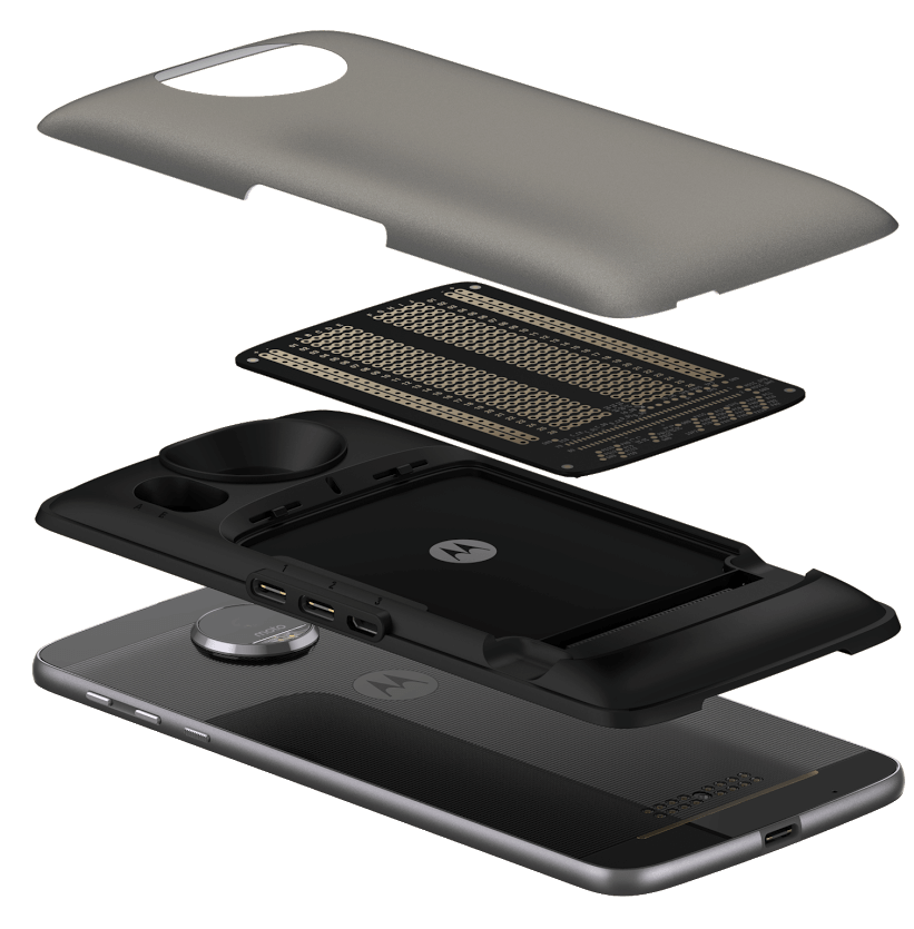 cross section view of a Moto Mod being attacted to a Moto Z smartphone